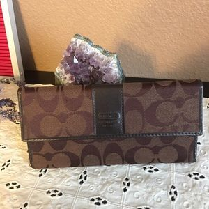 Brown Coach Checkbook Wallet
